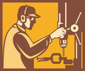 Factory Worker Operator With Drill Press Retro Royalty Free Stock Photography