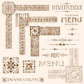 Faded border elements decorative aged and menu and invitation vector Royalty Free Stock Photo