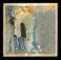 Faded picture of ghostly figure in abandoned house Royalty Free Stock Images