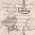 Faded text, stamps, big ben, lettering London, Paris label with hand drawn the Louvre, lettering Paris, seamless pattern