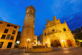 Fadri tower and cathedral castellon de la plana wide angle shot of gothic at plaza mayor in night spain Royalty Free Stock Image