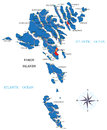 Faeroe islands map highly detailed vector of with administrative regions main cities and roads Stock Images