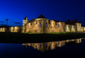 Night view of Fagaras fortress, Brasov County, Romania Royalty Free Stock Photo