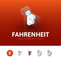 Fahrenheit icon in different style color vector symbol flat outline and isometric isolated on blur background Royalty Free Stock Photos
