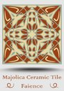 Faience tile. Ceramic tile in beige, olive green and red terracotta. Vintage ceramic majolica. Traditional spanish ceramics elemen Royalty Free Stock Photo