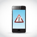 Fail sign on a phone illustration design over white background Stock Photography