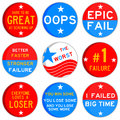 Failure colorful icons for losing and bad situations Royalty Free Stock Image
