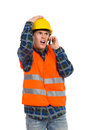Failure at construction shocked engineer using cell phone three quarter length studio shot isolated on white Stock Image