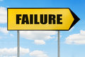 Failure Sign -Yellow road sign with arrow pointing right against Royalty Free Stock Photo