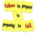 Failure to prepare is preparing to fail sticky note saying words in a or quote on notes Royalty Free Stock Photo