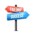 Failure versus success road sign illustration design over a white background Royalty Free Stock Photography