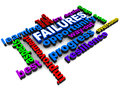 Failures surrounded by opportunities progress and other positive words overcome failure concept Stock Images
