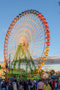 Fair ferris wheel at sunset Royalty Free Stock Photo