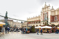 Fair in KRAKOW. Main Market Square and Sukiennice in the evening. Royalty Free Stock Photo