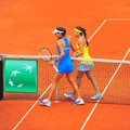 Fair play sorana cirstea and ana ivanovic winner at the end of the first game between romania serbia women tennis teams Stock Photo