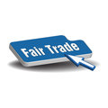 Fair trade button isolated blue with the text and a cursor ready to press the Royalty Free Stock Photo