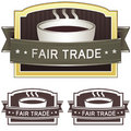 Fair trade coffee label sticker Royalty Free Stock Photo
