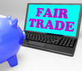 Fair trade laptop means fairtrade ethical shopping meaning Royalty Free Stock Photography