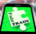 Fair trade smartphone shows purchasing showing ethical fairtrade goods Royalty Free Stock Photo