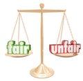 Fair Vs Unfair Words Scale Balance Justice Injustice