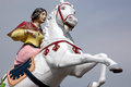 Fairground horse rider prancing life size on brighton pier uk Stock Photography