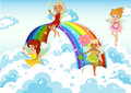Fairies above the sky near the rainbow illustration of Royalty Free Stock Image