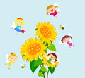 Fairies and flower group of cartoon art Royalty Free Stock Image