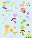 Fairies and flower group of cartoon art Stock Images