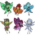 Fairies set of no use of gradients or transparency Royalty Free Stock Photography