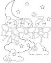 Fairies on the sky coloring page