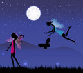 Fairies under the moonlight fairy illustration and stars Royalty Free Stock Photo