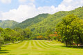 Fairway of a golf course beside the mountain Stock Photography