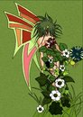 Fairy cartoon with the body full of colorful flowe Royalty Free Stock Photo