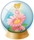A fairy above the flower inside the dome illustration of on white background Stock Photography