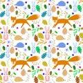 Fairy animals on pattern Royalty Free Stock Photo