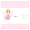 Fairy baby shower greeting card with crown, diamonds vector Royalty Free Stock Photo