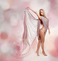 Fairy. Beautiful Blond Girl in  Dress Stock Image