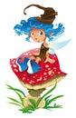Fairy-Blue and the mushroom Royalty Free Stock Photo