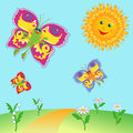 Fairy butterflies and sun over meadow colorful cartoon flying near a hand drawing vector illustration Stock Photo