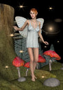 Fairy butterfly d digital render of a cute white in a night fairytale forest Stock Images