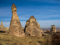 Fairy chimney rock formations in cappadocia turkey monks valley near goreme Stock Image