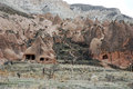Fairy chimneys and cave houses in cappadokia turkey Stock Photos