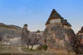 Fairy chimneys near uerguep in cappadokia turkey Royalty Free Stock Photo