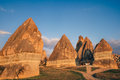 Fairy chimneys rock formation in Rose valley near Goreme