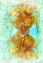 Fairy creature illustration with abstract ornamental pattern Royalty Free Stock Photo
