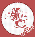 The fairy with a cup of coffee conjures Stock Photo
