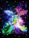 Fairy dancing colorful illustration with in the stars on black background Stock Images
