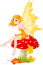 Fairy do outono no cogumelo Foto de Stock Royalty Free