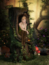 Fairy dreams charming sits in a hollow tree and Stock Photos