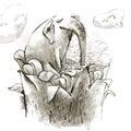 Fairy Elephant Drinks Nectar of a Giant Magic Royalty Free Stock Photo